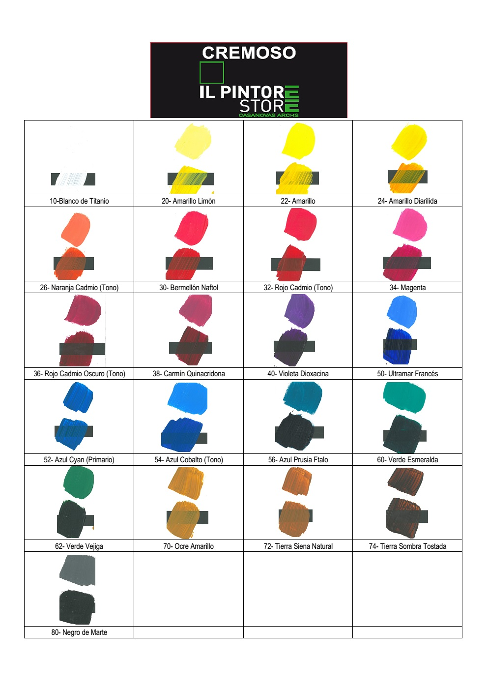 Carta  colores ilpintore